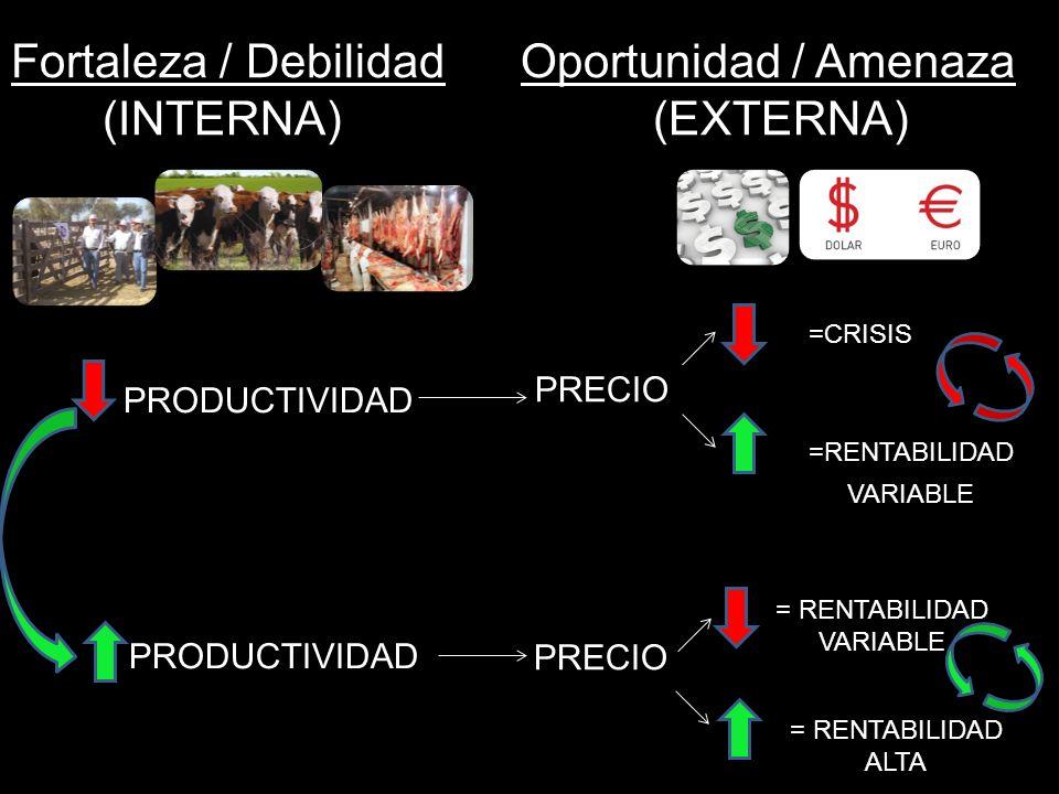 Fortaleza / Debilidad Oportunidad / Amenaza (INTERNA) (EXTERNA) PRODUCTIVIDAD =CRISIS PRECIO =RENTABILIDAD VARIABLE PRECIO = RENTABILIDAD ALTA = RENTA