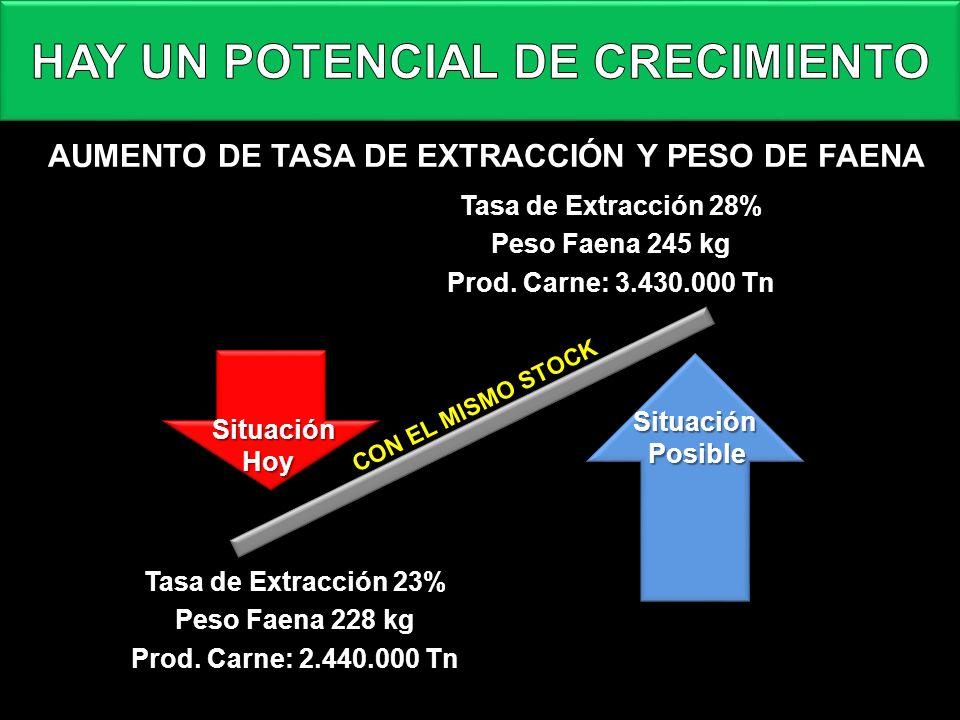 AUMENTO DE TASA DE EXTRACCIÓN Y PESO DE FAENA Tasa de Extracción 28% Peso Faena 245 kg Prod. Carne: 3.430.000 Tn Tasa de Extracción 23% Peso Faena 228