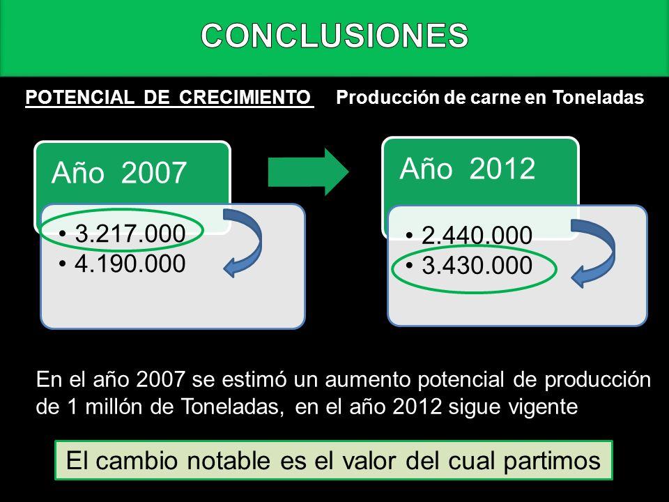 CONCLUSIONES POTENCIAL DE CRECIMIENTO Año 2007 3.217.000 4.190.000 Año 2012 2.440.000 3.430.000 Producción de carne en Toneladas En el año 2007 se est