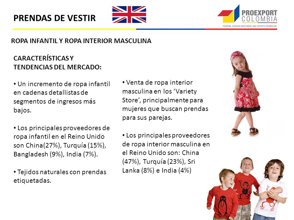 ROPA INFANTIL Y ROPA INTERIOR MASCULINA CARACTERÍSTICAS Y TENDENCIAS DEL MERCADO: Un incremento de ropa infantil en cadenas detallistas de segmentos d