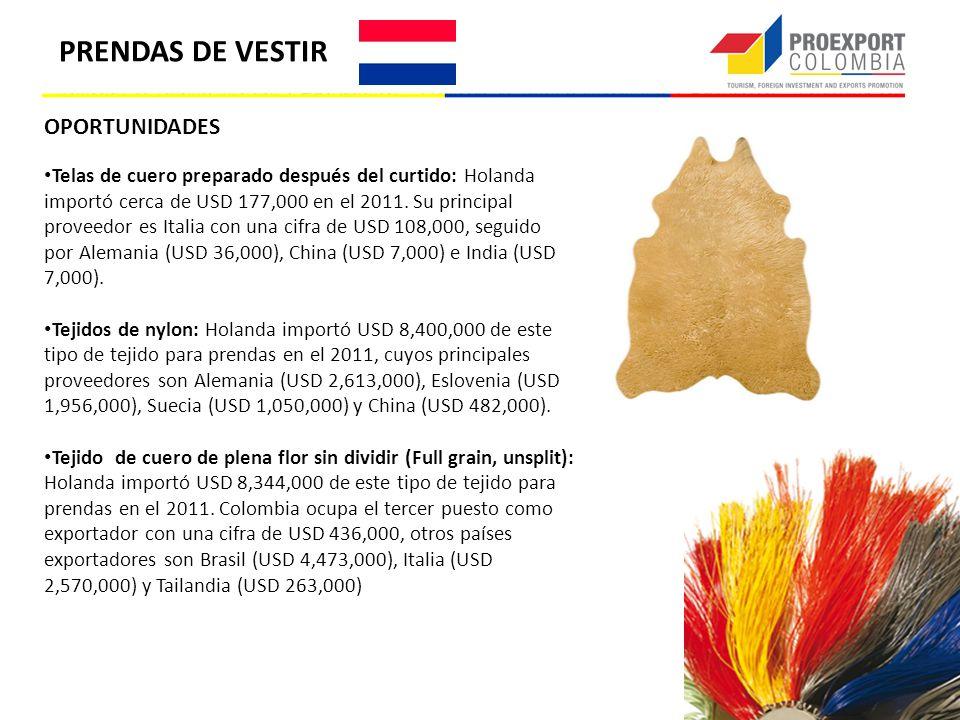 OPORTUNIDADES Telas de cuero preparado después del curtido: Holanda importó cerca de USD 177,000 en el 2011. Su principal proveedor es Italia con una