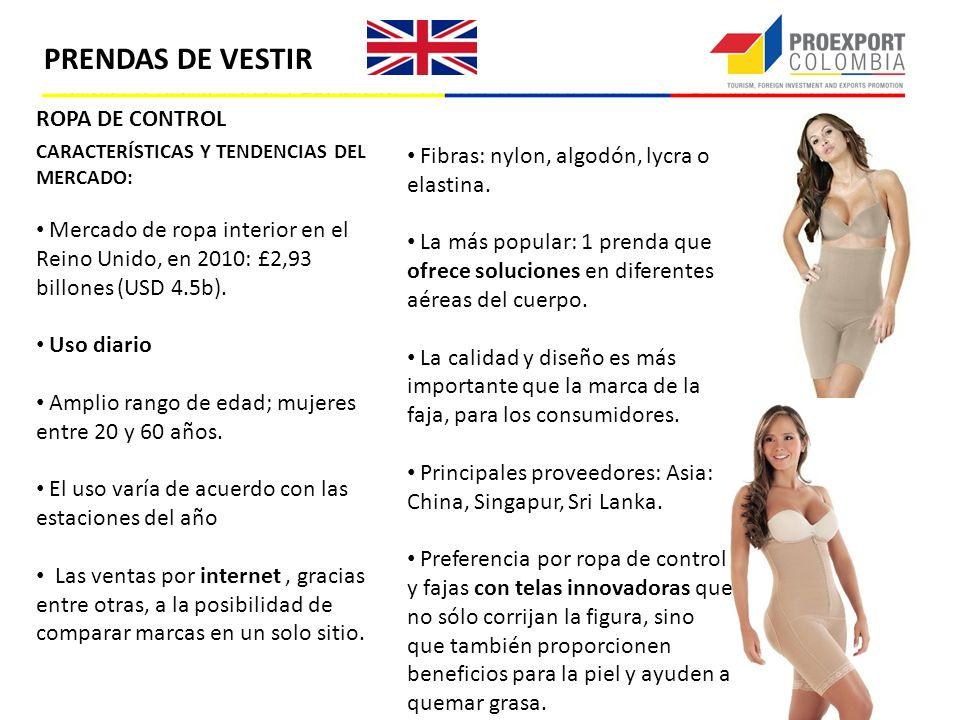 ROPA DE CONTROL CARACTERÍSTICAS Y TENDENCIAS DEL MERCADO: Mercado de ropa interior en el Reino Unido, en 2010: £2,93 billones (USD 4.5b). Uso diario A
