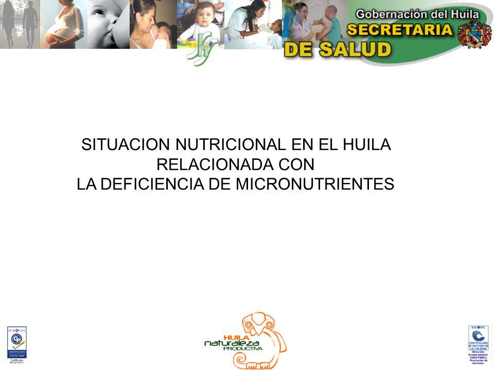 SITUACION NUTRICIONAL EN EL HUILA RELACIONADA CON LA DEFICIENCIA DE MICRONUTRIENTES