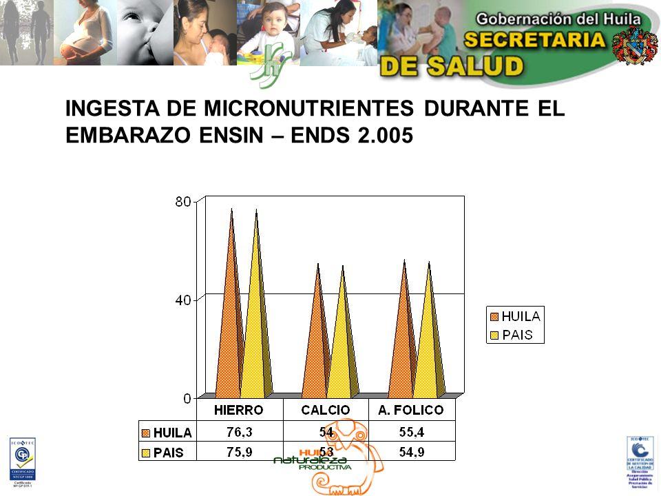 INGESTA DE MICRONUTRIENTES DURANTE EL EMBARAZO ENSIN – ENDS 2.005