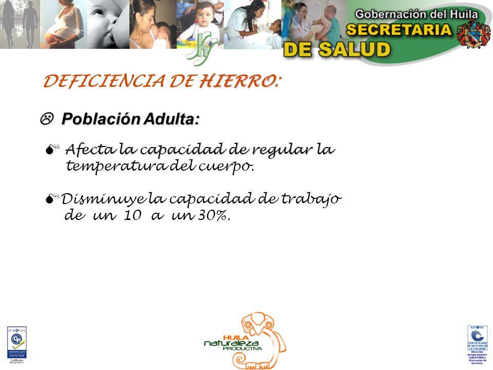 HIERRO DEFICIENCIA DE HIERRO: Población Adulta: Población Adulta: Afecta la capacidad de regular la Afecta la capacidad de regular la temperatura del