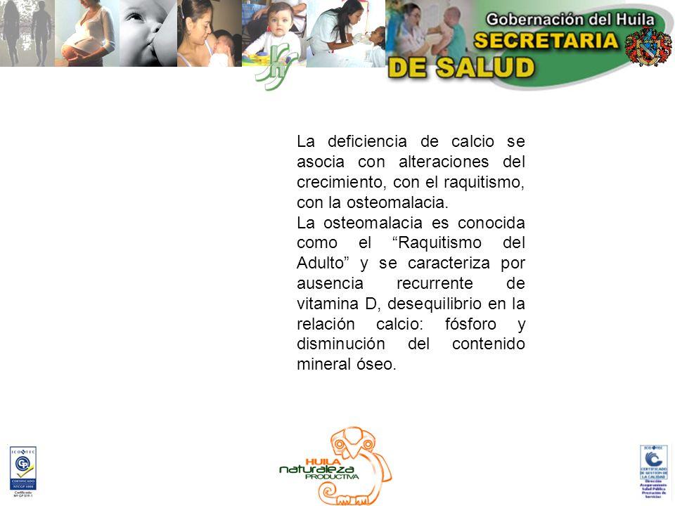 La deficiencia de calcio se asocia con alteraciones del crecimiento, con el raquitismo, con la osteomalacia. La osteomalacia es conocida como el Raqui