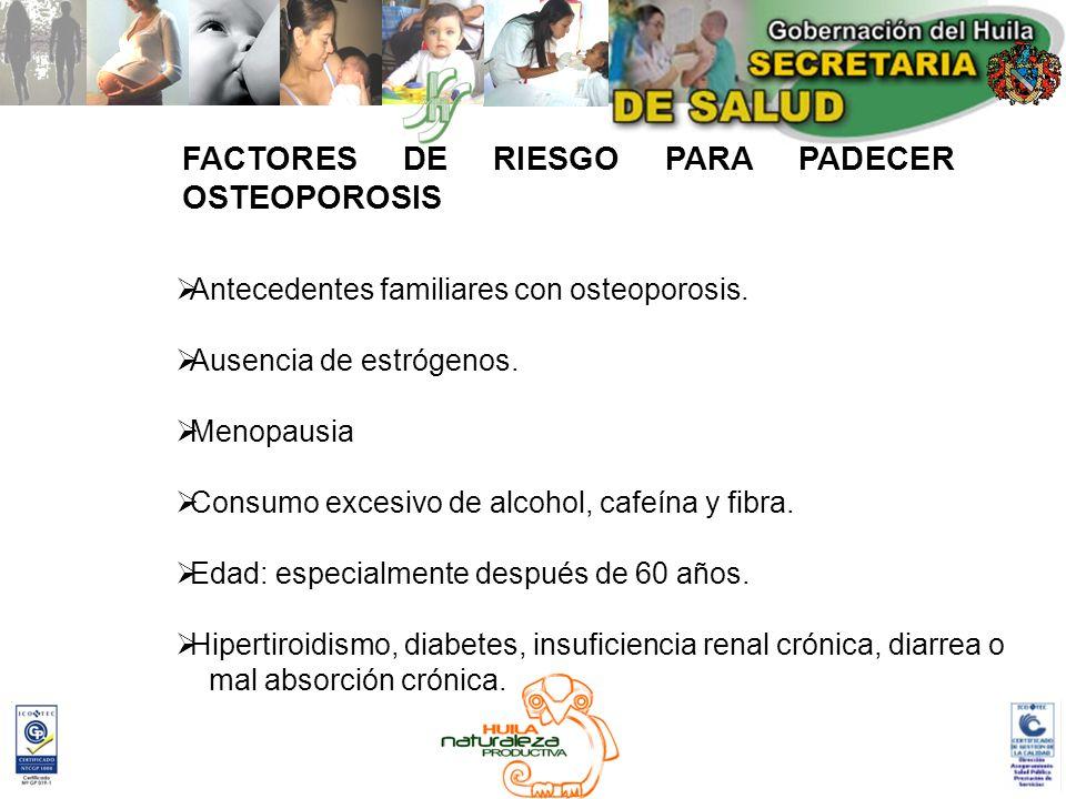 FACTORES DE RIESGO PARA PADECER OSTEOPOROSIS Antecedentes familiares con osteoporosis. Ausencia de estrógenos. Menopausia Consumo excesivo de alcohol,