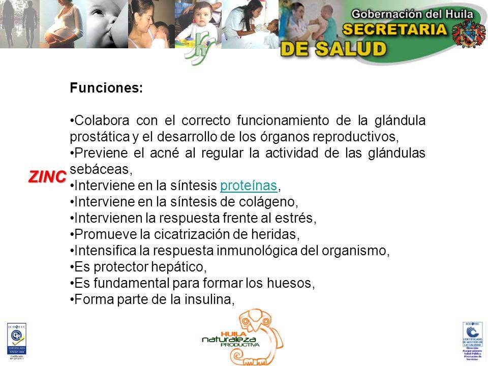 Funciones: Colabora con el correcto funcionamiento de la glándula prostática y el desarrollo de los órganos reproductivos, Previene el acné al regular