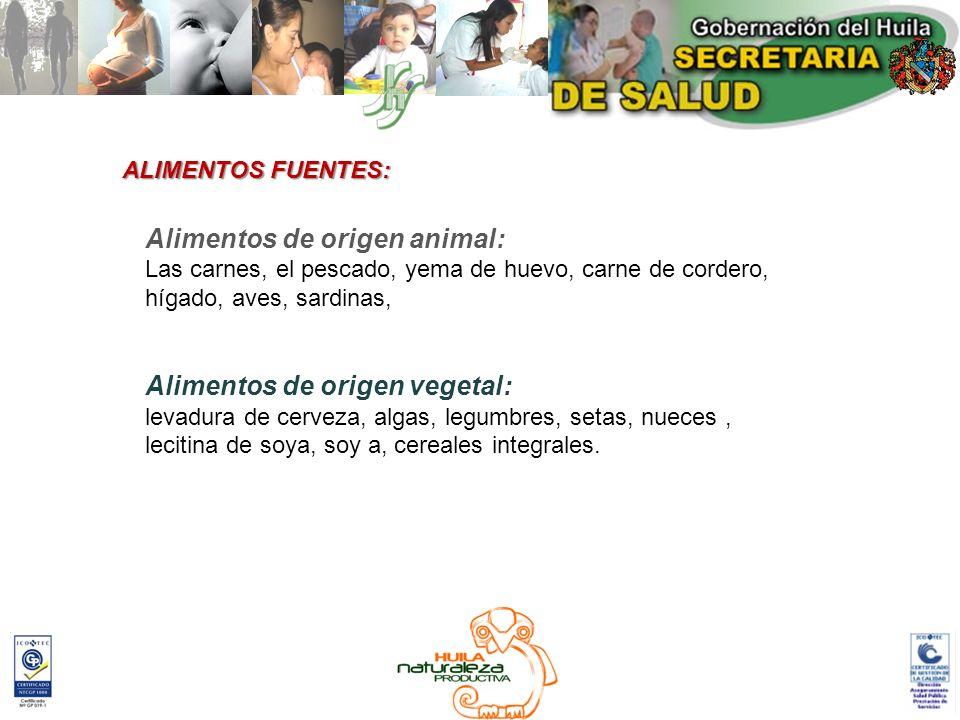 Alimentos de origen animal: Las carnes, el pescado, yema de huevo, carne de cordero, hígado, aves, sardinas, Alimentos de origen vegetal: levadura de