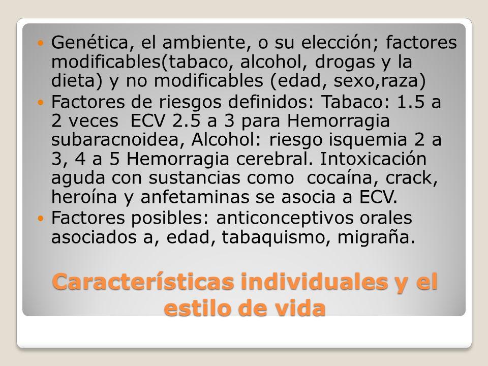 Características individuales y el estilo de vida Genética, el ambiente, o su elección; factores modificables(tabaco, alcohol, drogas y la dieta) y no