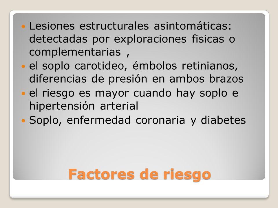 Factores de riesgo Lesiones estructurales asintomáticas: detectadas por exploraciones fisicas o complementarias, el soplo carotideo, émbolos retiniano