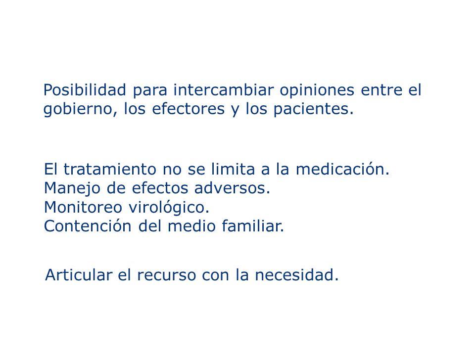 Posibilidad para intercambiar opiniones entre el gobierno, los efectores y los pacientes. El tratamiento no se limita a la medicación. Manejo de efect