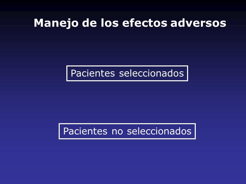 Manejo de los efectos adversos Pacientes seleccionados Pacientes no seleccionados