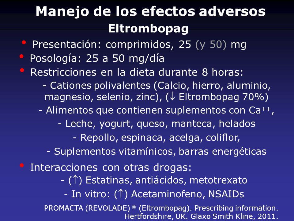 Eltrombopag Presentación: comprimidos, 25 (y 50) mg Posología: 25 a 50 mg/día Restricciones en la dieta durante 8 horas: - Cationes polivalentes (Calc
