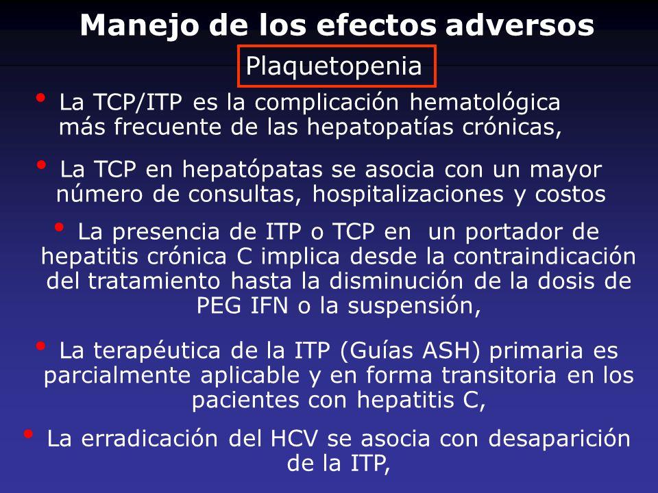 La TCP/ITP es la complicación hematológica más frecuente de las hepatopatías crónicas, La TCP en hepatópatas se asocia con un mayor número de consulta