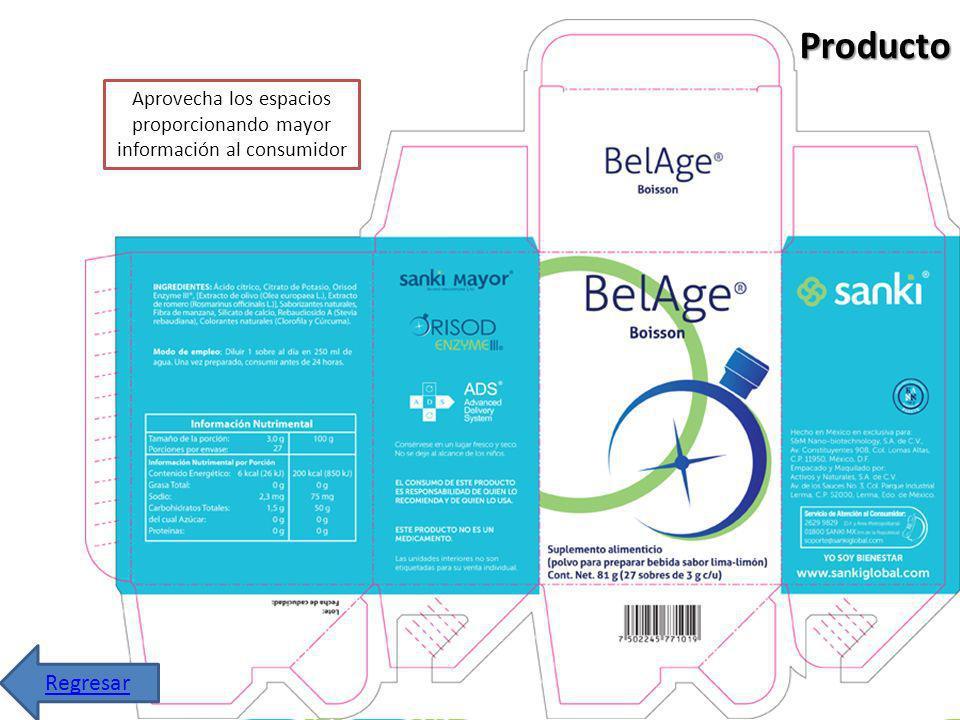 Producto Aprovecha los espacios proporcionando mayor información al consumidor Regresar
