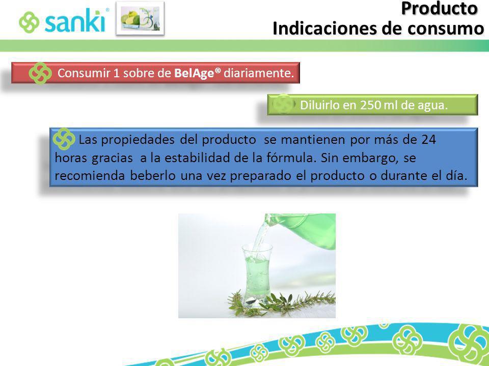 Producto Indicaciones de consumo Las propiedades del producto se mantienen por más de 24 horas gracias a la estabilidad de la fórmula. Sin embargo, se