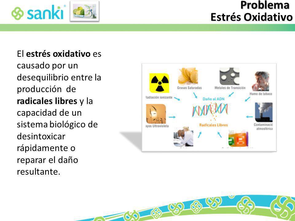 Problema Estrés Oxidativo El estrés oxidativo es causado por un desequilibrio entre la producción de radicales libres y la capacidad de un sistema bio