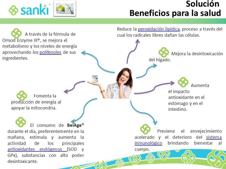 Solución Beneficios para la salud Reduce la peroxidación lipídica, proceso a través del cual los radicales libres dañan las células.peroxidación lipíd