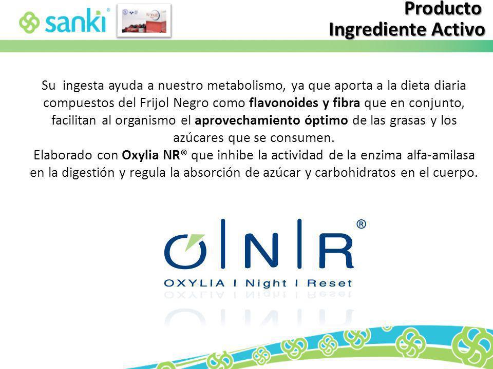 Producto Ingrediente Activo Su ingesta ayuda a nuestro metabolismo, ya que aporta a la dieta diaria compuestos del Frijol Negro como flavonoides y fib