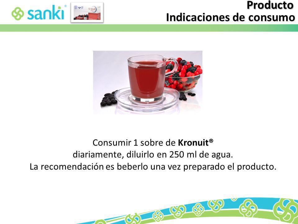 Indicaciones de consumo Producto Consumir 1 sobre de Kronuit® diariamente, diluirlo en 250 ml de agua. La recomendación es beberlo una vez preparado e