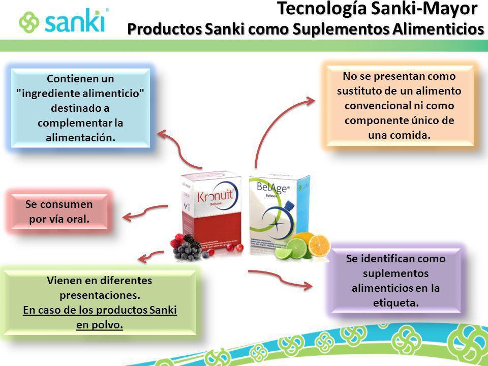 Productos Sanki como Suplementos Alimenticios Se consumen por vía oral. Contienen un