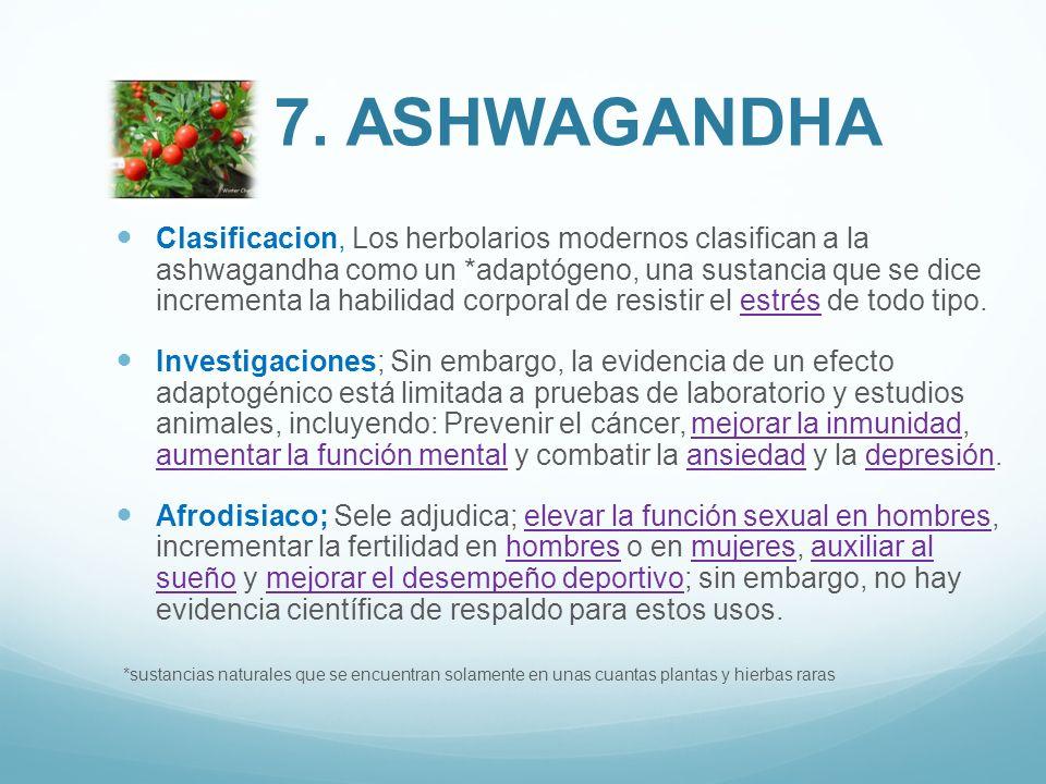 Clasificacion, Los herbolarios modernos clasifican a la ashwagandha como un *adaptógeno, una sustancia que se dice incrementa la habilidad corporal de
