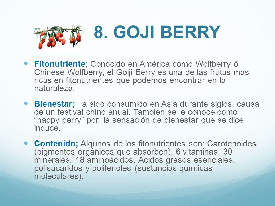 Fitonutriente; Conocido en América como Wolfberry ó Chinese Wolfberry, el Goiji Berry es una de las frutas mas ricas en fitonutrientes que podemos enc