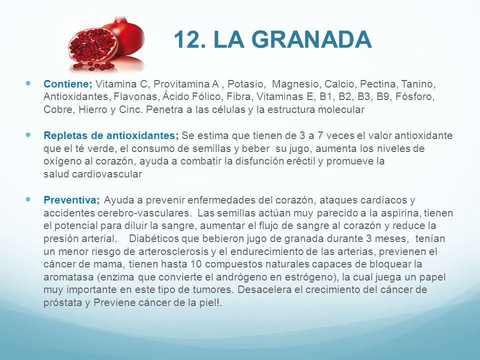 Contiene; Vitamina C, Provitamina A, Potasio, Magnesio, Calcio, Pectina, Tanino, Antioxidantes, Flavonas, Ácido Fólico, Fibra, Vitaminas E, B1, B2, B3