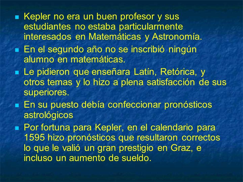 Kepler no era un buen profesor y sus estudiantes no estaba particularmente interesados en Matemáticas y Astronomía. En el segundo año no se inscribió