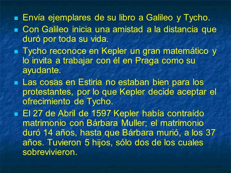 Envía ejemplares de su libro a Galileo y Tycho. Con Galileo inicia una amistad a la distancia que duró por toda su vida. Tycho reconoce en Kepler un g