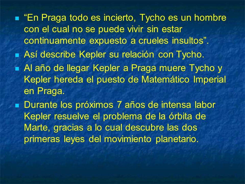 En Praga todo es incierto, Tycho es un hombre con el cual no se puede vivir sin estar continuamente expuesto a crueles insultos. Así describe Kepler s