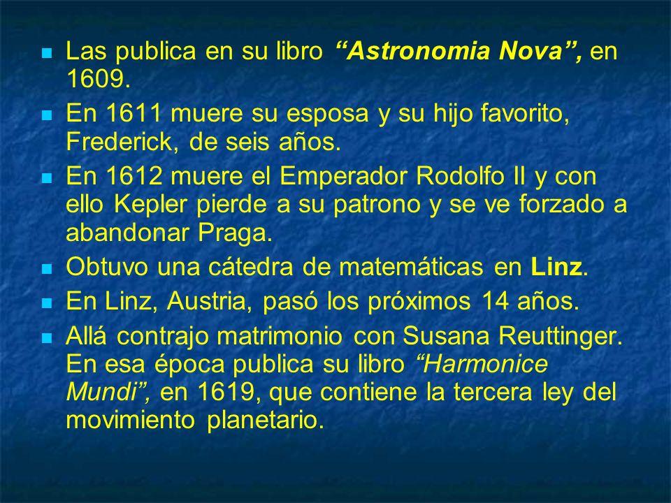 Las publica en su libro Astronomia Nova, en 1609. En 1611 muere su esposa y su hijo favorito, Frederick, de seis años. En 1612 muere el Emperador Rodo