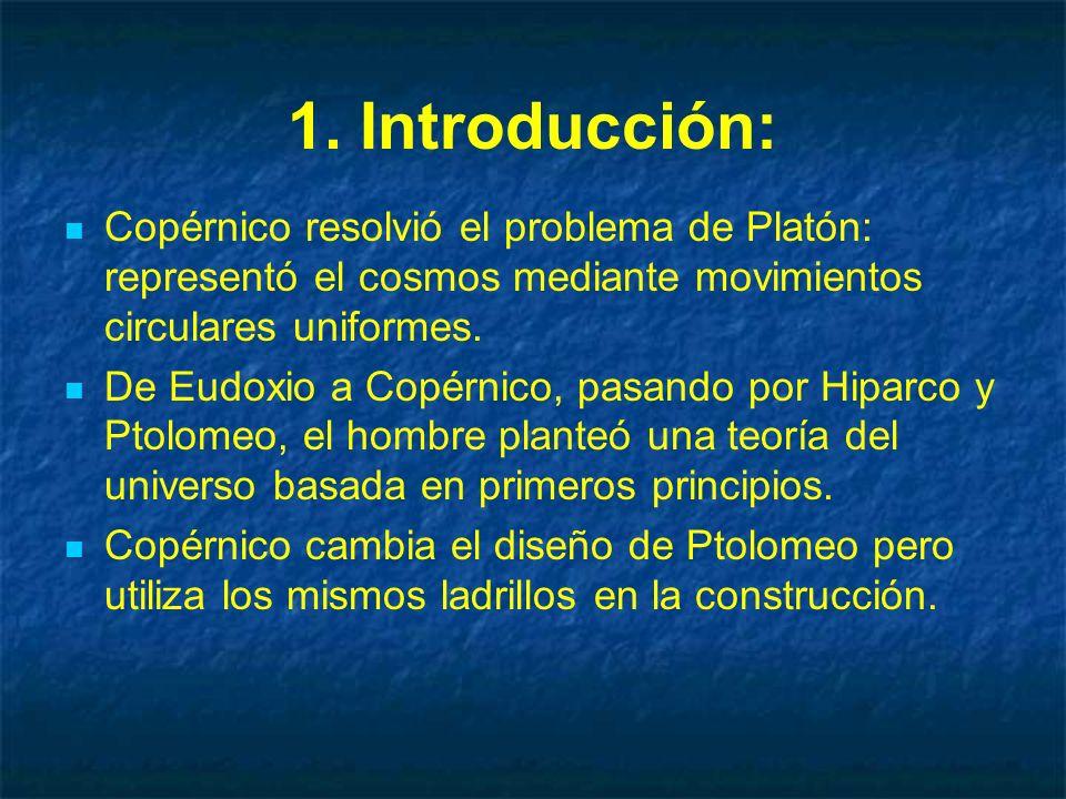 1. Introducción: Copérnico resolvió el problema de Platón: representó el cosmos mediante movimientos circulares uniformes. De Eudoxio a Copérnico, pas