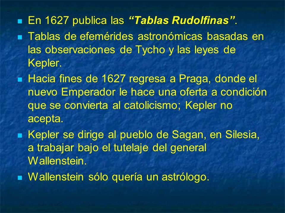En 1627 publica las Tablas Rudolfinas. Tablas de efemérides astronómicas basadas en las observaciones de Tycho y las leyes de Kepler. Hacia fines de 1