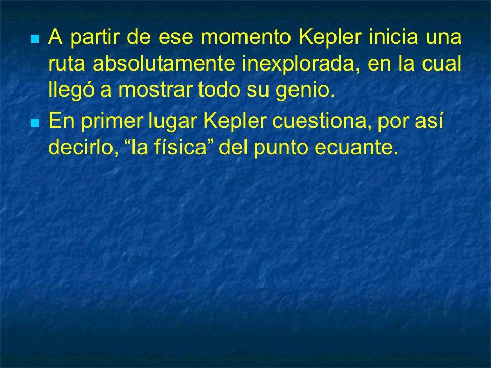 A partir de ese momento Kepler inicia una ruta absolutamente inexplorada, en la cual llegó a mostrar todo su genio. En primer lugar Kepler cuestiona,