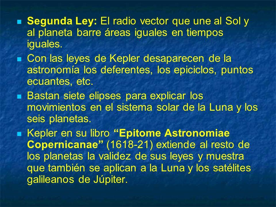 Segunda Ley: El radio vector que une al Sol y al planeta barre áreas iguales en tiempos iguales. Con las leyes de Kepler desaparecen de la astronomía