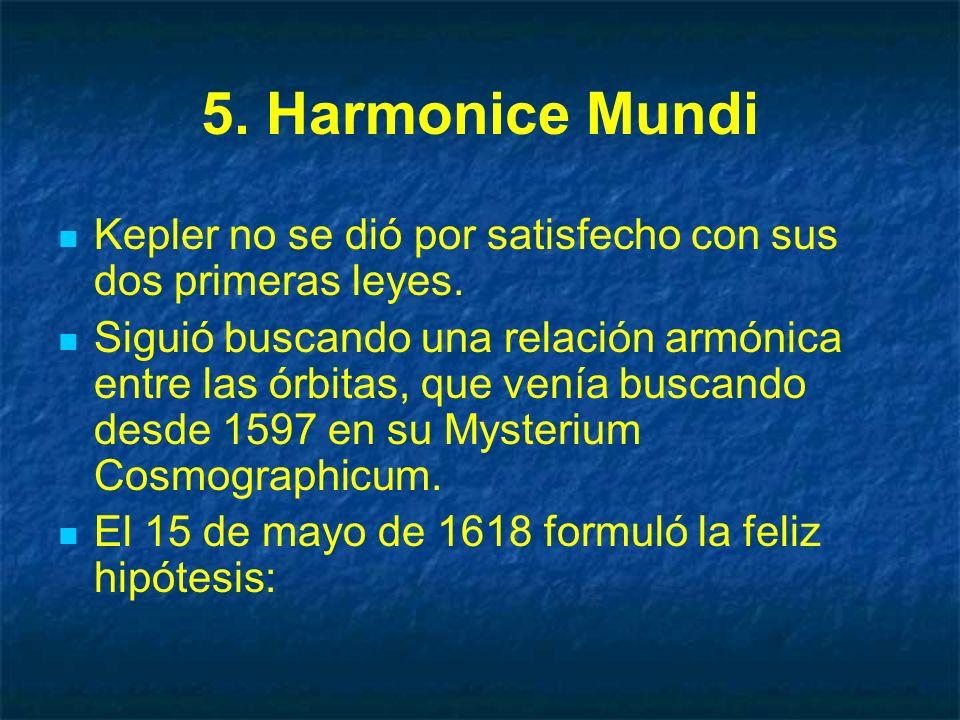 5. Harmonice Mundi Kepler no se dió por satisfecho con sus dos primeras leyes. Siguió buscando una relación armónica entre las órbitas, que venía busc