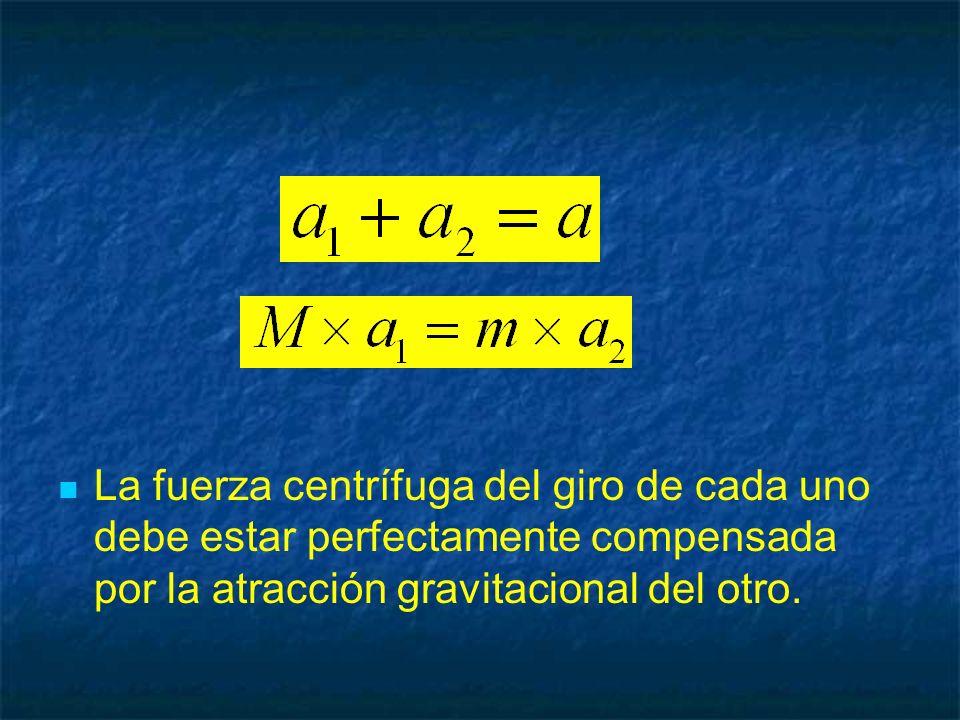 La fuerza centrífuga del giro de cada uno debe estar perfectamente compensada por la atracción gravitacional del otro.