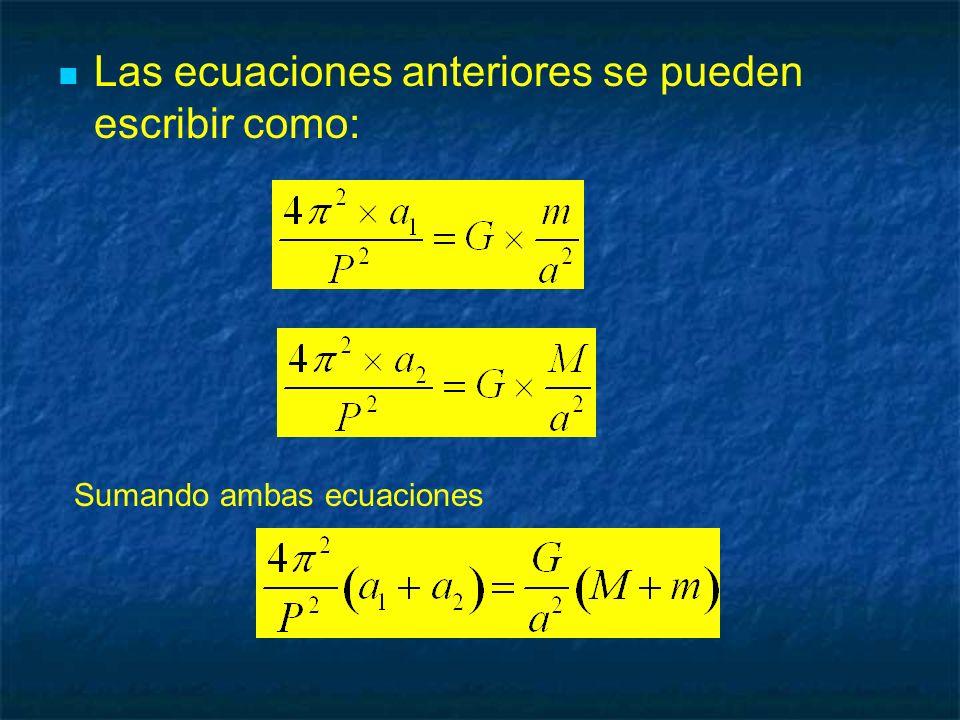 Las ecuaciones anteriores se pueden escribir como: Sumando ambas ecuaciones