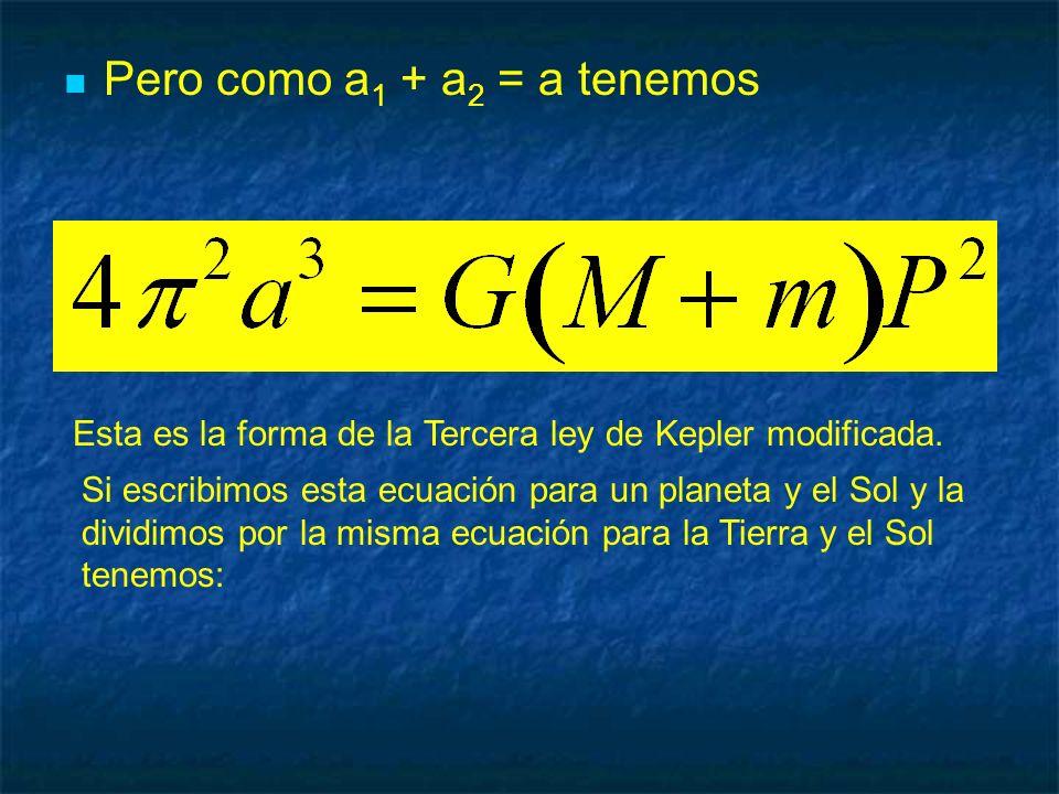 Pero como a 1 + a 2 = a tenemos Esta es la forma de la Tercera ley de Kepler modificada. Si escribimos esta ecuación para un planeta y el Sol y la div