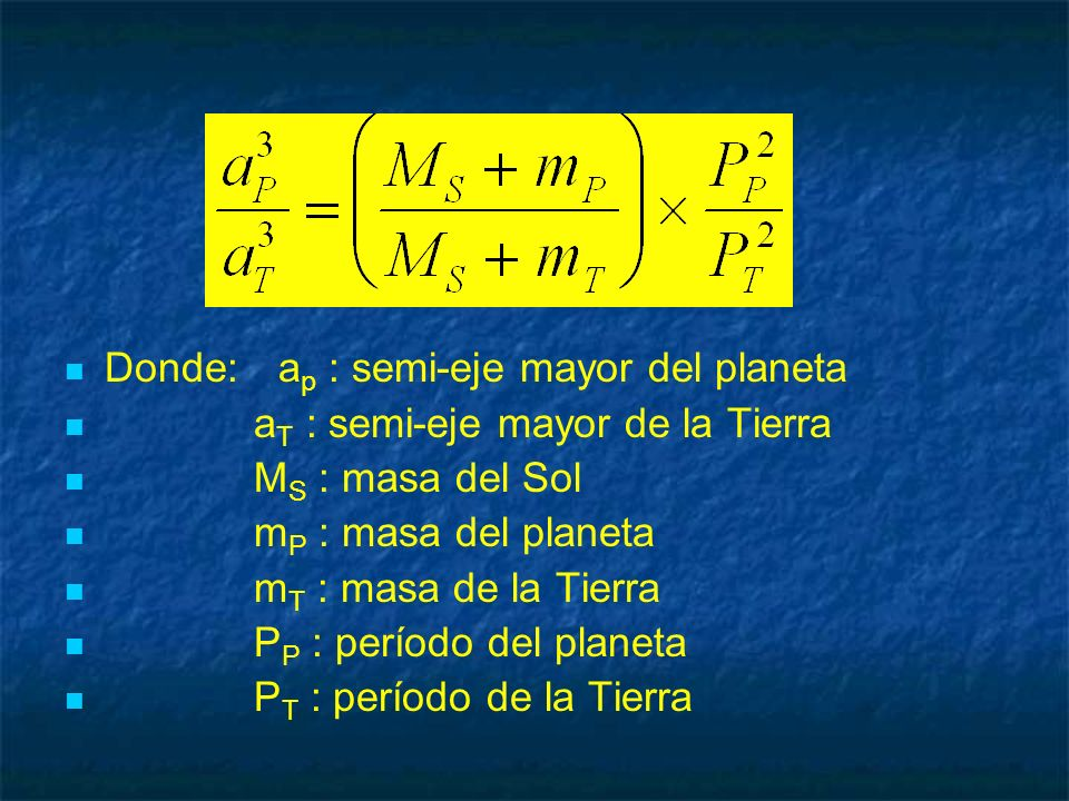 Donde:a p : semi-eje mayor del planeta a T : semi-eje mayor de la Tierra M S : masa del Sol m P : masa del planeta m T : masa de la Tierra P P : perío