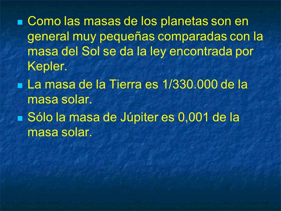 Como las masas de los planetas son en general muy pequeñas comparadas con la masa del Sol se da la ley encontrada por Kepler. La masa de la Tierra es