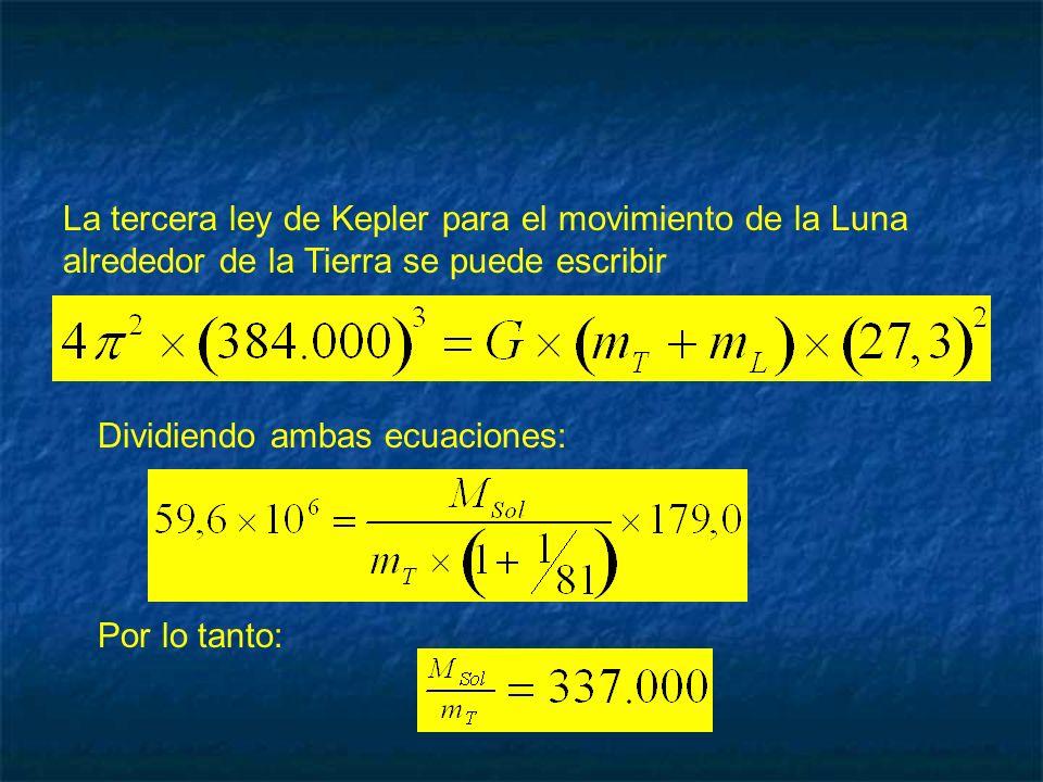 La tercera ley de Kepler para el movimiento de la Luna alrededor de la Tierra se puede escribir Dividiendo ambas ecuaciones: Por lo tanto: