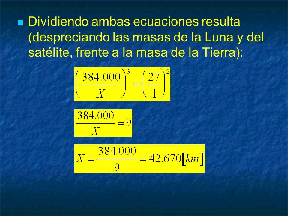 Dividiendo ambas ecuaciones resulta (despreciando las masas de la Luna y del satélite, frente a la masa de la Tierra):