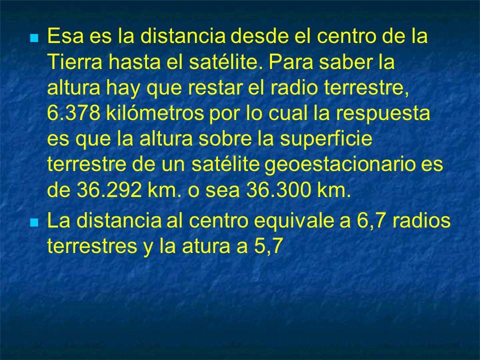 Esa es la distancia desde el centro de la Tierra hasta el satélite. Para saber la altura hay que restar el radio terrestre, 6.378 kilómetros por lo cu