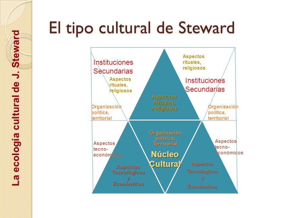El tipo cultural de Steward Aspectos rituales, religiosos Aspectos Tecnológicos y Económicos Organización política, Territorial AspectosTecnologicosYE