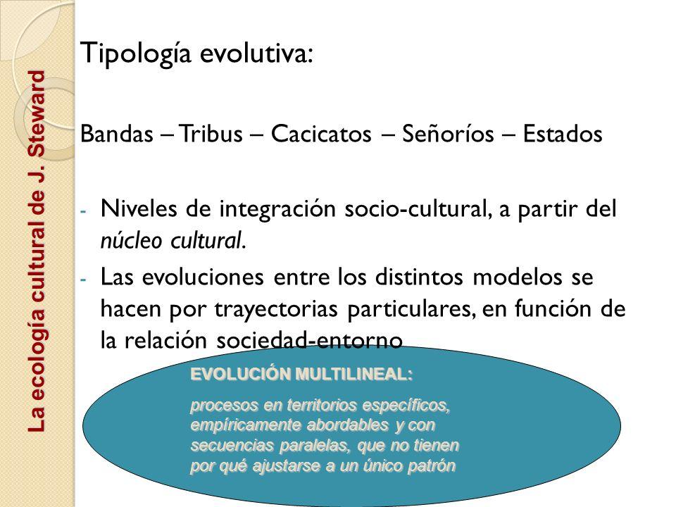 La ecología cultural de J. Steward Tipología evolutiva: Bandas – Tribus – Cacicatos – Señoríos – Estados - Niveles de integración socio-cultural, a pa