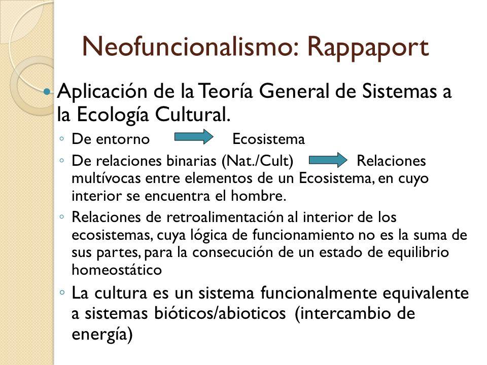 Neofuncionalismo: Rappaport Aplicación de la Teoría General de Sistemas a la Ecología Cultural. De entornoEcosistema De relaciones binarias (Nat./Cult