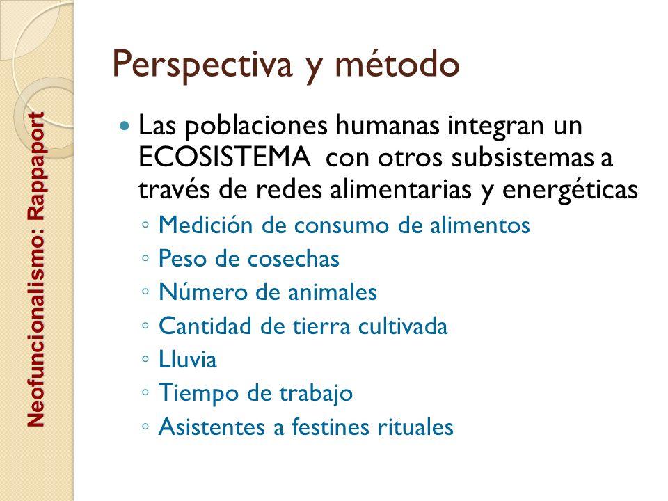 Perspectiva y método Las poblaciones humanas integran un ECOSISTEMA con otros subsistemas a través de redes alimentarias y energéticas Medición de con